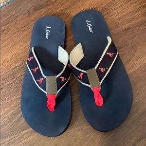 J. Crew Flamingo Flip Flops Navy Pink